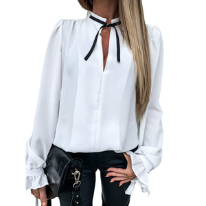 Spring Lady Office Shirts 2020 Puff Sleeve Womens Tops And Blouses 2020 Casual Ruffle Blouse Bowknot White Shirts 2020