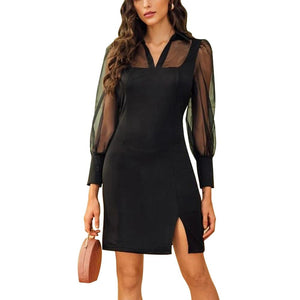 Spring Mesh Lantern Sleeve Dress 2020 Women Elegant Lady Office Dress 2020 Split Hem Mini Black Dress 2020 Slim Fit Dress Tulle Work Office Black Mini Dress 2020 Women Fashion 2020  Swansstyle