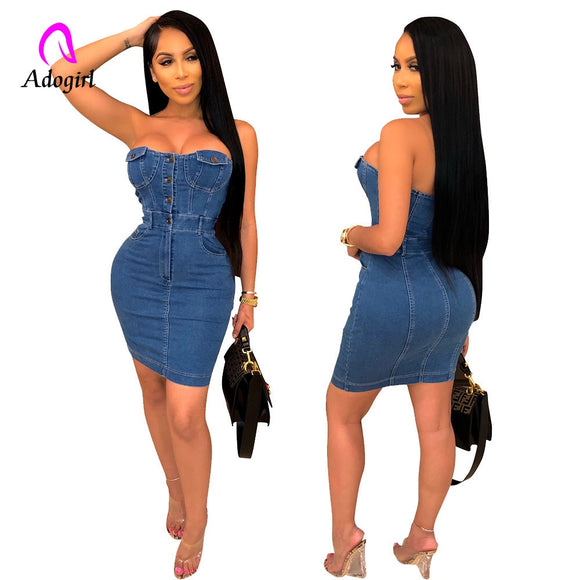 Sexy Jean Dress 2020 Strapless Denim Dress Work Women Elegant Summer Dress Sexy Party Slim Jeans Dress 2020 Denim Bodycon Dresses