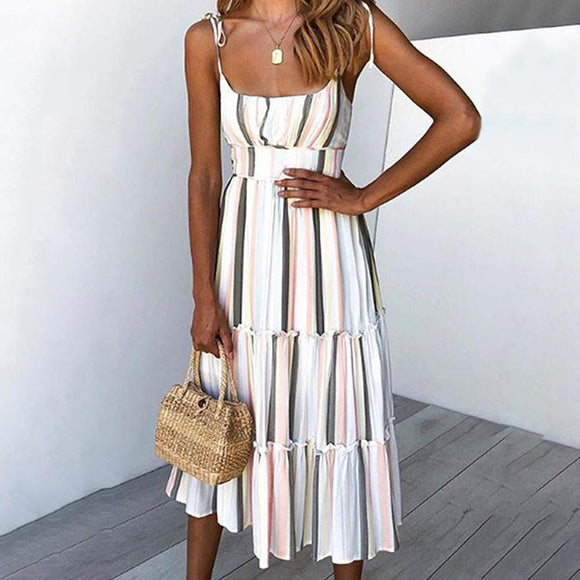 Striped Print Long Dress 2020 Beach Spaghetti Strap Sleeveless Midi Off Shoulder Dress 2020 Boho Summer Dress Elegant White Sexy Dress 2020   Swansstyle