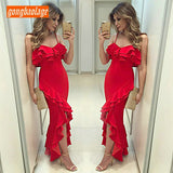 Stylish Red Mermaid Dresses 2020 Long Prom Dresses 2020 Sexy Prom Dress Party gongbaolage Sweetheart Elastic Satin Ruffles Slit Evening Gown