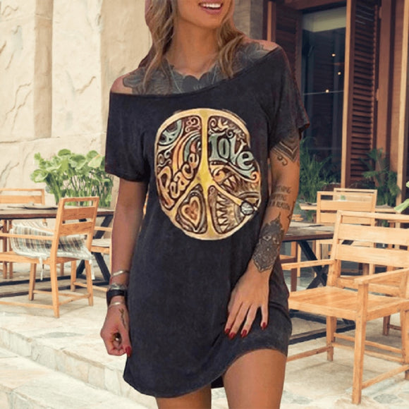Summer Casual Black Color Vintage Print Mini Dress 2020 Short Sleeve Off Shoulder Black Mini Dress 2020 Cotton Women Dress Plus Size Loose Dress