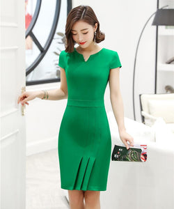 Summer Fashion Women Emerald Green Work Dress 2020 Ladies Slim Short Sleeve Office Dress 2020   Swansstyle