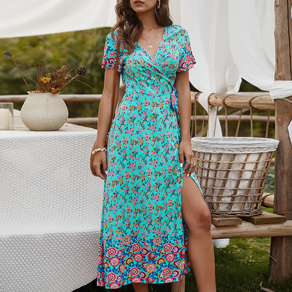 Summer Floral Printed Dress 2020 Belt Long Summer Dress Women Casual Split Hem Dress 2020 Ladies Bohemian Holiday Beach Maxi Dress 2020 Women Fashion 2020  Swansstyle