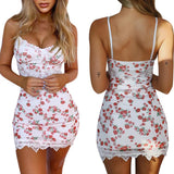 Summer Floral Printed Slim Dress 2020 Women High Street Spaghetti Strap Dress 2020 Women Bodycon Backless Ladies Party Floral Mini Dress 2020   Swansstyle