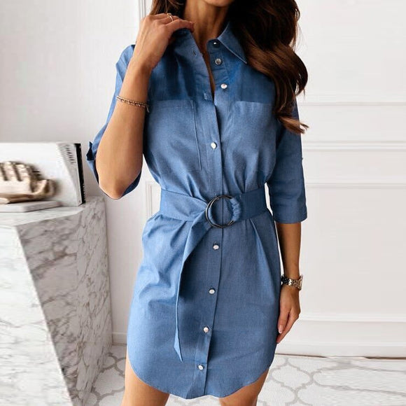 Summer Imitation Denim Dress 2020 Casual Women Blue Turndown Collar Sashes Jean Dress 2020 Long Sleeve Shirt Dress Office Work Wear