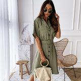 Summer Solid Colour Dress 2020 Elegant Knee-Length Party Dress 2020 Sundress Casual Button Dresses With Belt