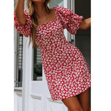Summer Women Dress 2020 Vintage Sexy Bohemian Floral Tunic Beach Dress Red White Dress Striped Female Vestidos платье L511   Swansstyle