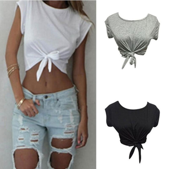Summer Women Knotted Tie Front White Crop Top 2020 Cropped T-Shirt Casual Blouse Tanks camis Knotted Tie Front T-Shirt   Swansstyle