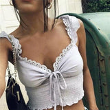 White Crop Top 2020 Summer Women Sexy Lace Patchwork White Lace V-Neck Crop Top 2020 Sleeveless Strap Vests Lace Up Club Wear Lace Tank Top   Swansstyle