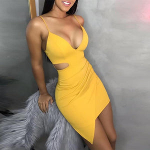 Summer Yellow Bodycon Mini Dress 2020 Women Cut Out Yellow Sexy Dress 2020 Spaghetti Strap Dress For Party Club   Swansstyle