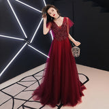 Lace Flower Red Evening Dress 2020 Bride Banquet Sweet Appliques V-neck Cape Sleeves Red Prom Dresses 2020 Floor-length Formal Party Gown