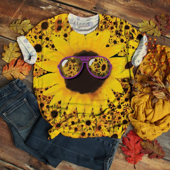 Man And Women Tie-dye Sunflower Print T-Shirt 2020 Short Sleeve T-Shirt Retro Tops oversized Sunflower Print Women Top Women Fashion 2020  Swansstyle