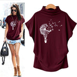 T-Shirt Tops Tees Women Turtleneck Short Sleeve Cotton Print Blouse 2020 Casual Top T Shirt 2020 Plus Size maglietta donna   Swansstyle