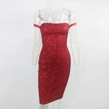 Red Sheath Sleeveless Strapless Sequin Bandage Dress