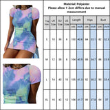 Tie Dye Bodycon Dress 2020 Mini Short Sleeve Sexy Dress 2020 Summer Sexy Party Night Dress 2020 Women Club Streetwear Party Dress 2020