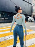 Open Back Tops 2020 Sexy Girls Clothing Winter Long Sleeve Blue Tops Criss Cross Shirt Tie Light Blue Women Tops 2020