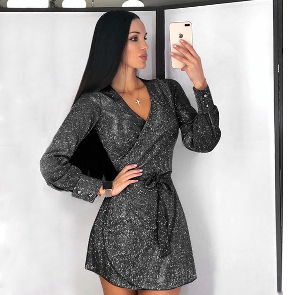 Tolook Shining Bandage Glitter Dress 2020 Sexy Elegant Mini Dresses 2020 Long Sleeve Autumn Winter Women Party Outfits