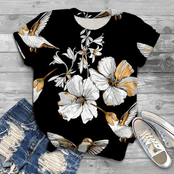 Cute Women Top 2020 T-Shirt Women Round Neck Short Sleeve Flower Birds Printed T-Shirt 2020 Black Printed T-Shirt   Swansstyle