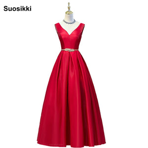 Red Long V Neck Satin Prom Dresses