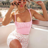 VITIANA Women Short Sexy Club Pink Camis Summer 2020 Female Sleeveless Strapless Party Beach Crop Top Femme Streetwear Tops