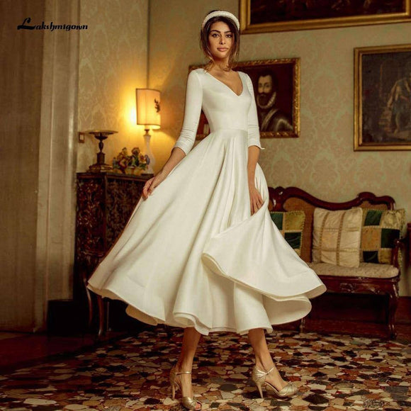 Vestido Vintage Tea Length Wedding Dress 2020 with Sleeves Elegant Bridal Receipt Dinner Gowns Satin A Line Wedding Dress 2020
