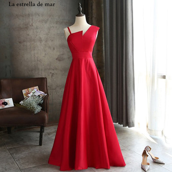 One Shoulder Sleeveless Red Satin Bridesmaid Dresses