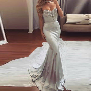 Vestidos De Gala Gray Long Prom Dress 2020 With Lace Neckline Custom Made Sexy Mermaid Party Prom Dress 2020 Vestidos