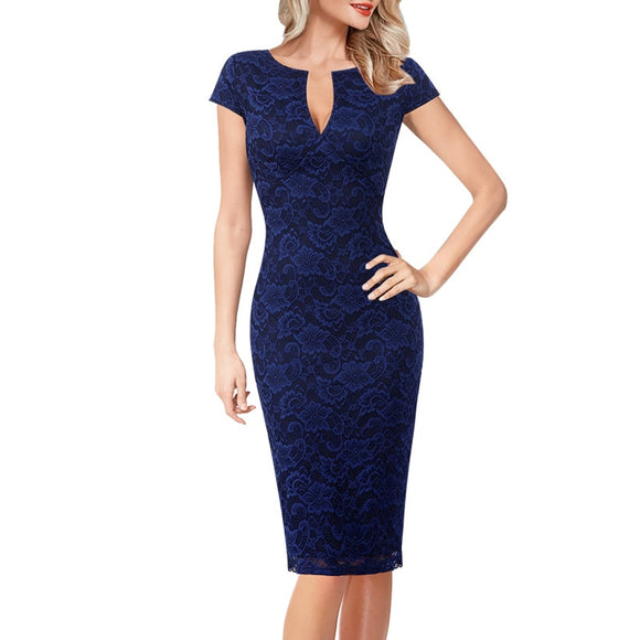 Sheath Dresses 2020 Womens Sexy Elegant Floral Print Lace Solid Vintage Slim Casual Cocktail Party Fitted Sheath Pencil Dress 2020 Bodycon Dress 1040
