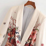 Vintage Print Women Suit 2020 Jacket With Belt Wide Leg Pant Suit Set Harajuku Women Coat 2020 Spring Elegant Outwear Lady Blazer