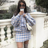 Vintage Sweet Women Pearl Button Check Gingham Plaid Blazer 2020 Mini Skirt And Blazer High Waist A line Mini Short Skirts Long Sleeve Suits 2 Pieces Set