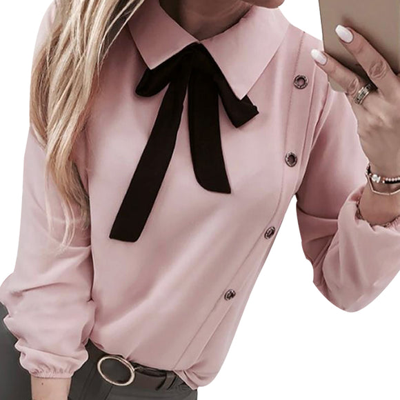 Vintage Women White Blouses 2020 Top Fashion Bow Tie Blouse Elegant Lady Long Sleeve Blouse 2020 Lady Office Casual Camis