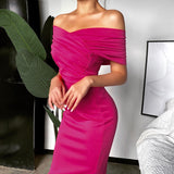 Off Shoulder Pink Slash Neck Party Dresses 2020 Knee-Length Ruched Backless Slim Sexy Women Pink Elegant Dresses 2020 Short Sleeve Summer Dress