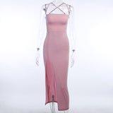 Pink Backless Sexy Split Party Dresses 2020 Women Ankle-Length Skinny Elastic Spaghetti Strap Sleeveless Slim Bodycon Dress 2020