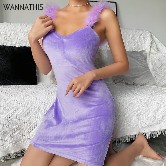 Purple Velvet Sleeveless Bodycon Dresses 2020 Feathers Patchwork Spaghetti Strap Slim Fashion Summer New Party Purple Mini Dresses 2020