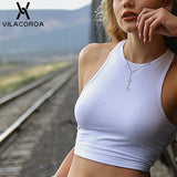 White Crop Top 2020 Knitted Round Neck Sexy Top Sleeveless Tank Top Woman Tight Stretch Slim Fit Crop Top 2020 Ladies Tee Top Streetwear   Swansstyle