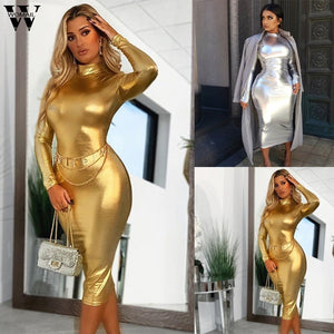 Womail Dress 2020 Women Elegant Long Sleeve Hight Collar Bodycon Slim Fit Party Sexy Gold Silver Dress 2020 Autumn Party Club Outfits