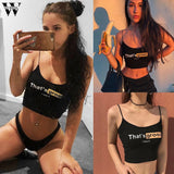 Summer Women Sexy That's Gross Print Crop Top 2020 Spaghetti Straps Black Crop Top 2020 Hot Girl Sexy Tank Top 2020   Swansstyle