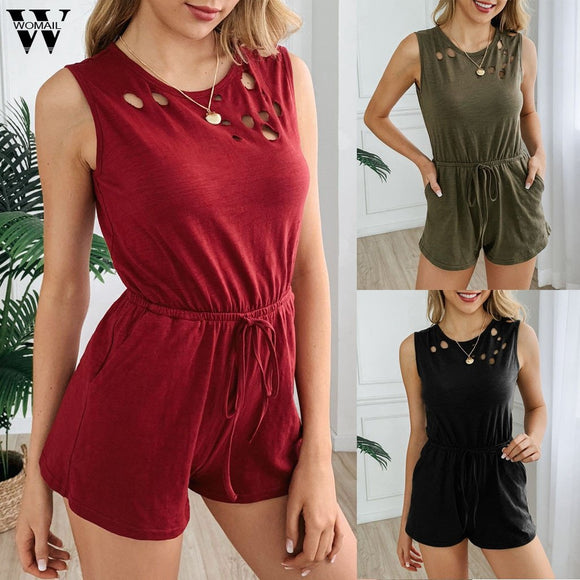 Basic Sexy Bodysuit 2020 Women Sexy Summer Sleeveless O Neck Pockets Jumpsuit 2020 Playsuit Short Romper 2020 Holiday Fashion Beach Women Fashion 2020  Swansstyle