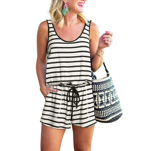 Women Summer Adjustable Waist Drawstring 2020 Short Jumpsuit Loose Stripe Romper   Swansstyle