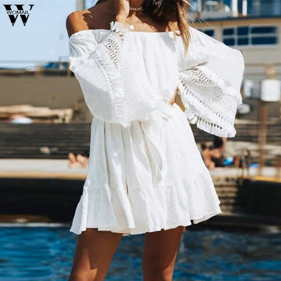 White Summer Dress 2020 Summer woman Sleeveless Sexy Off Shoulder Splicing Cotton Linen Lace Party White Mini Dress 2020