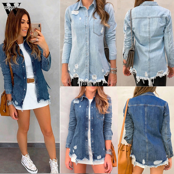 Denim Women Jacket 2020 Jean Vintage Basic Coat Denim Jacket Winter Hole Jeans Jacket 2020 Coat loose Fit Casual Korea Kpop Overcoat 815