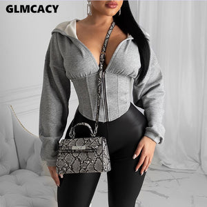 Women Autumn Long Sleeve Zip Hoodies 2020 Casual Solid Sweatshirt Slim Corset Sport Workout Gym Jacket 2020