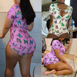 Women Butterfly Printed Short Romper 2020 Fashion V Neck Short Sleeve Bodysuit 2020 Summer Sexy Playsuit Female Home Clothes Butterfly Print Jumpsuit