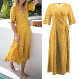 Women Deep V Neck Long Summer Dress 2020 Sexy Summer Boho Polka Dot Printed Dress 2020 Short Sleeve Evening Party Dress Holiday Beach Dress 2020   Swansstyle