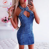 Sleeveless Denim Dress 2020 Women Denim Dress Patchwork Bead Decor O-Neck Sleeveless Solid Denim Mini Dress 2020 Hollow Out Zipper Design Ladies Summer Bodycon Dress