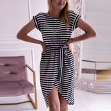 Stripe Wrap Dress 2020 Fashion Short Sleeve O Neck Belted Stripe Casual Dress 2020 modis Summer Office Ladies Asymmetrical Dresses 2020