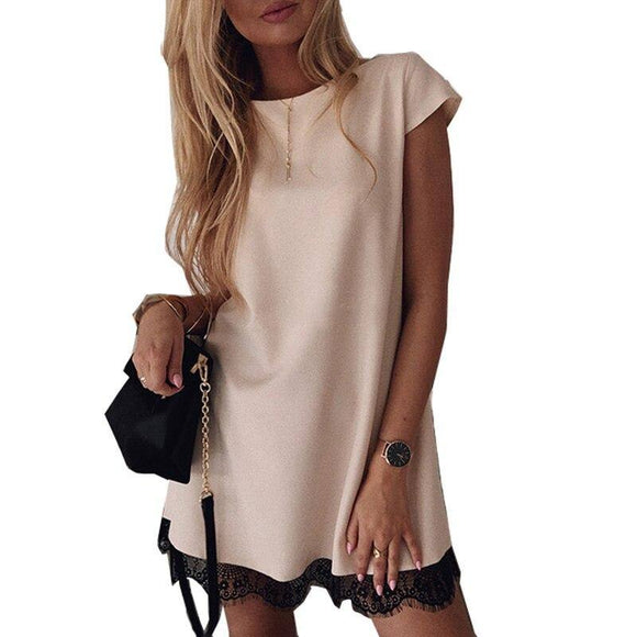 Women Dress 2020 Short Sleeve Straight Lace Mini Party Dress 2020 Summer Elegant Robe Femme Womens Clothing