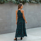 Ankle-Length Elegant Halter Leopard Maxi Dress 2020 Summer Ladies Sleeveless Long Dress 2020 Lace Printed Sexy Beach Dress 2020 Bohemian Dress Women Fashion 2020  Swansstyle