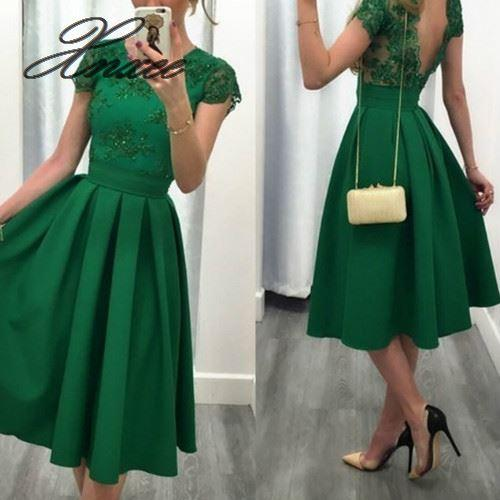 O Neck Backless Short Sleeve Pleated Skirt Lace Prom Dresses 2020-Swansstyle